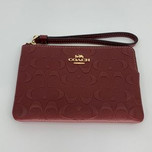 Coach Red Embossed Signature Leather Wristlet